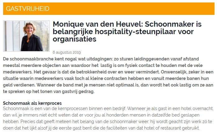 Monique van den Heuvel: Schoonmaker is belangrijke hospitality-steunpilaar voor organisaties