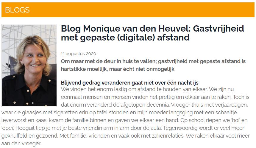 Monique van den Heuvel: Gastvrijheid met gepaste (digitale) afstand